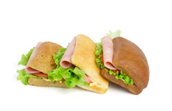 Sandwiches with slice of ham Royalty Free Stock Photos