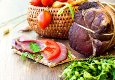 Sandwiches with smoked gammon and tomatoes Stock Image