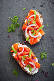 Sandwiches with smoked salmon Royalty Free Stock Image