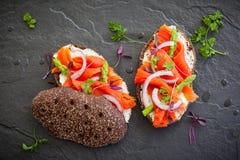 Sandwiches with smoked salmon Stock Photo