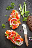 Sandwiches with smoked salmon Stock Photography