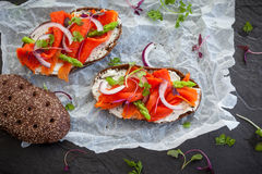 Sandwiches with smoked salmon Royalty Free Stock Images