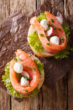Sandwiches with smoked salmon, mozzarella, lettuce and radish cl Royalty Free Stock Image