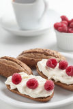 Sandwiches with soft cheese and raspberry Royalty Free Stock Image