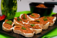 Sandwiches with spicy mackerel elegantly served Stock Image