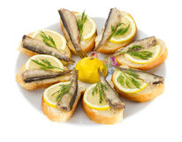 Sandwiches with sprats Royalty Free Stock Photos