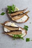 Sandwiches with sprats or sardines Royalty Free Stock Image