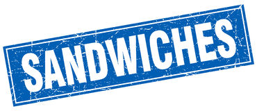 Sandwiches stamp. Sandwiches square grunge stamp isolated on white background Royalty Free Stock Image
