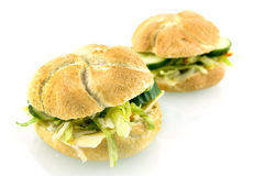 Sandwiches stuffed with salad. Two fresh sandwiches isolated on white background royalty free stock images