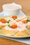 Sandwiches with tomato spread Stock Image