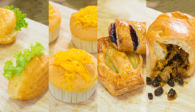 Sandwiches with tuna, Bread With golden threads, Chicken Pie, blueberries Pie, Bread With Dried Shredded Pork Royalty Free Stock Photos