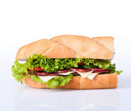 Sandwiches. Turkey breast, ham & swiss and salami on a cutting board. on white background royalty free stock image