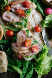 Sandwiches with vegetables and bacon Stock Photos