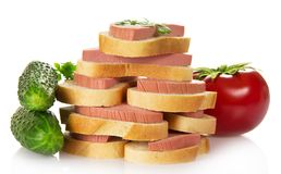 Sandwiches and vegetables Stock Photography