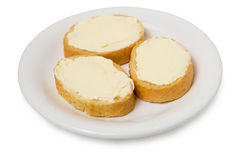 Sandwiches from white bread with cheese spread Stock Photo