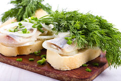 Sandwiches of white bread with herring, onions and herbs Stock Photos