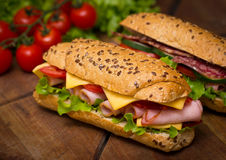 Sandwiches wit ham Stock Photo