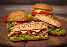 Sandwiches wit ham royalty free stock photography