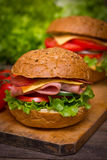 Sandwiches wit ham Royalty Free Stock Images