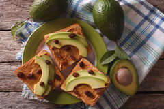 Free Sandwiches With Peanut Butter And Avocado Close-up. Horizontal Royalty Free Stock Photos - 59282528