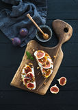 Sandwiches With Ricotta, Fresh Figs, Walnuts And Royalty Free Stock Image