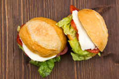 Sandwiches on wood from above Stock Photo
