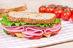Sandwiches  on a wooden board Stock Photos