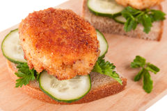Sandwiches with Yummy Cutlet, Bread, Cucumber and Parsley Stock Images