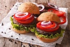 Sandwiches: zwarte boonburgers en verse groentenclose-up Ho royalty-vrije stock foto's