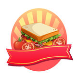 Sandwichetiket royalty-vrije illustratie