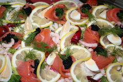 Sandwichgateau met zeevruchten Royalty-vrije Stock Foto's