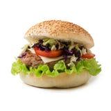 Sandwichhamburger mit saftigen Burgern, Käse lizenzfreie stockfotos