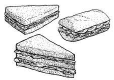 Sandwichillustratie, tekening, gravure, inkt, lijnkunst, vector royalty-vrije stock foto