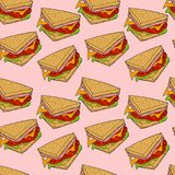 Sandwichpatroon Hand getrokken illustratie Heldere beeldverhaalillustratie voor menuontwerp, stof en behang stock illustratie