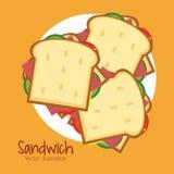 Sandwichplatten-Brotmittagessen-Snackikone Stockfotografie