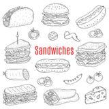 Sandwichreeks, vectorschetsillustratie Royalty-vrije Stock Afbeelding