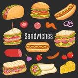 Sandwichreeks, vectorschetsillustratie Stock Afbeeldingen
