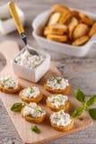 Sandwichs à bruschette avec le fromage blanc Photo libre de droits