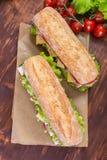 Sandwichs à ciabatta avec du jambon et le veg Photo libre de droits