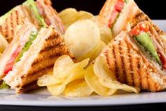 Sandwichs à club Images libres de droits