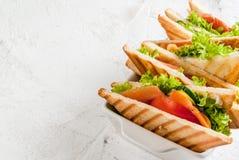 Sandwichs à club avec des saumons Image libre de droits