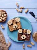 Sandwichs à ours avec le beurre d'arachide Photographie stock