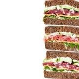 Sandwichs à perle de seigle de salami photo stock