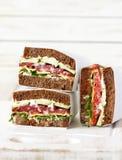 Sandwichs à perle de seigle de salami images libres de droits