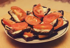Sandwichs à Toamto Photographie stock