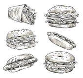 Sandwichs Aliments de préparation rapide casse-croûte Croquis de vecteur illustration de vecteur