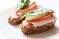 Sandwichs au jambon Image libre de droits