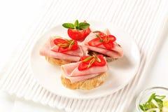 Sandwichs au jambon Photo libre de droits