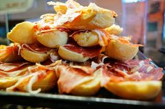 Sandwichs au jambon de Serrano Photographie stock