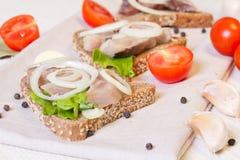 Sandwichs avec des harengs et une branche de tomat de cerise Image stock
